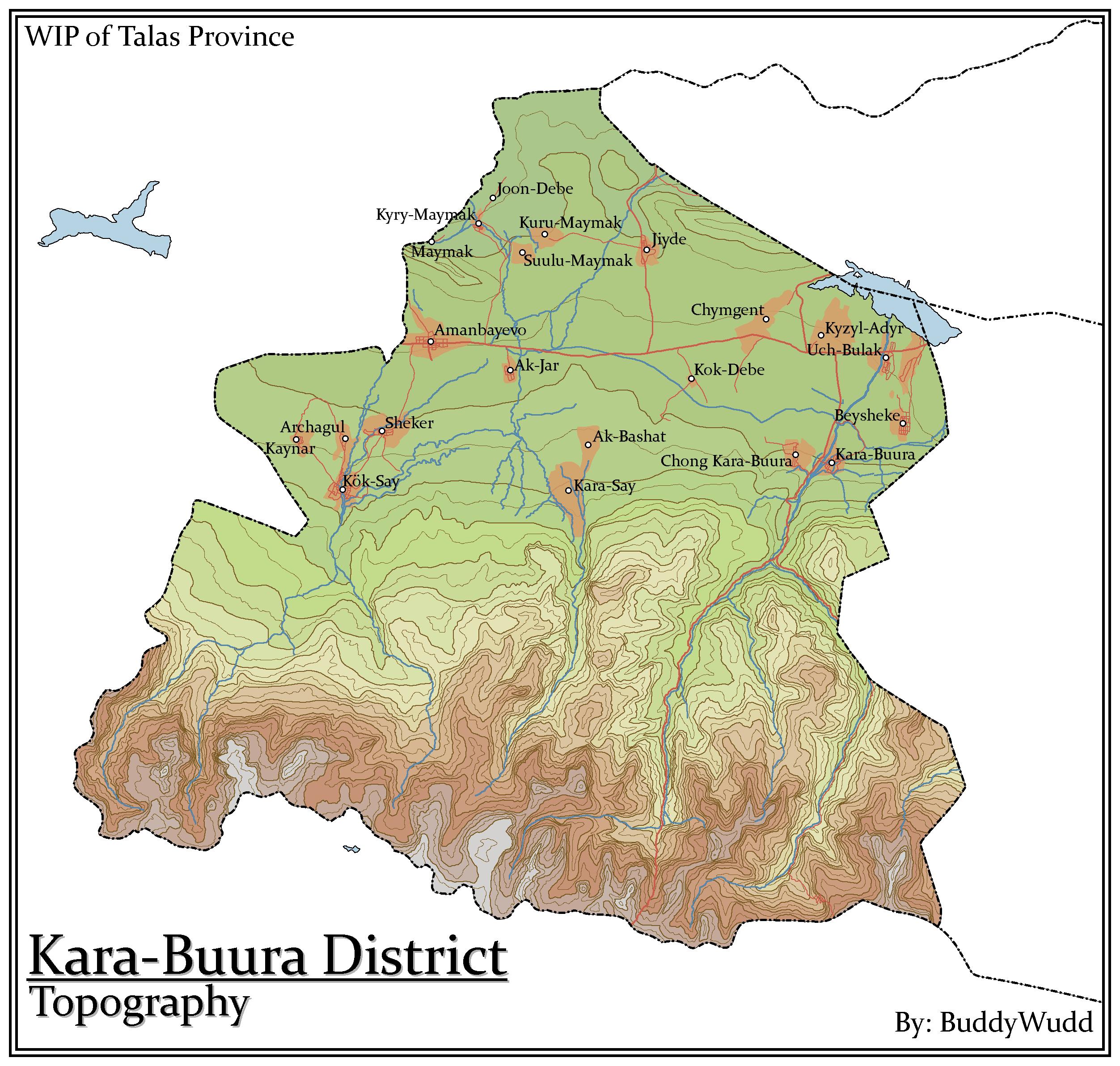 Kara-Buura Topographic Map - Talas, Kyrgyzstan by BuddyWudd ...