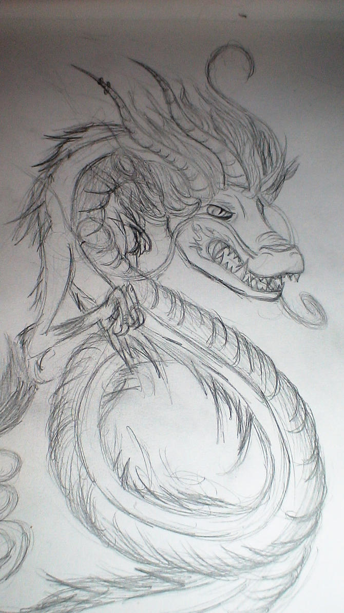Oriental Dragon Sketch by discordianDenial