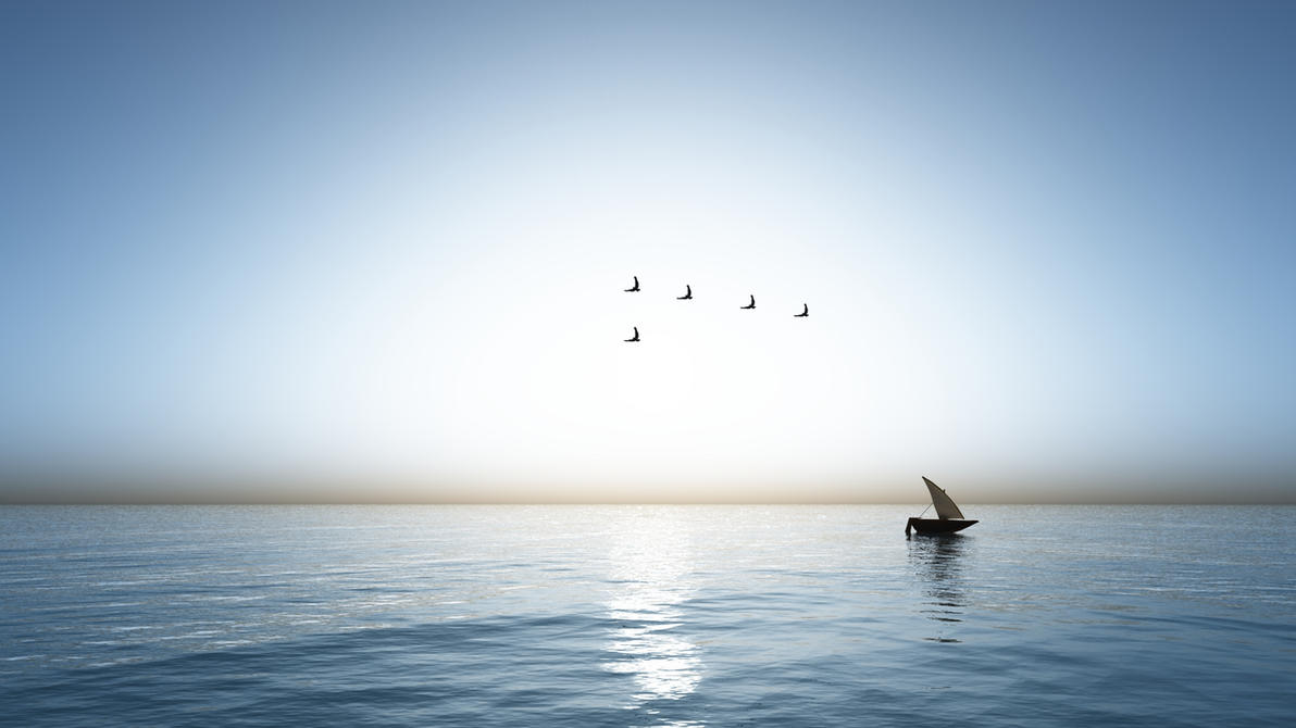 Sea and Boat by Hythamkalefe