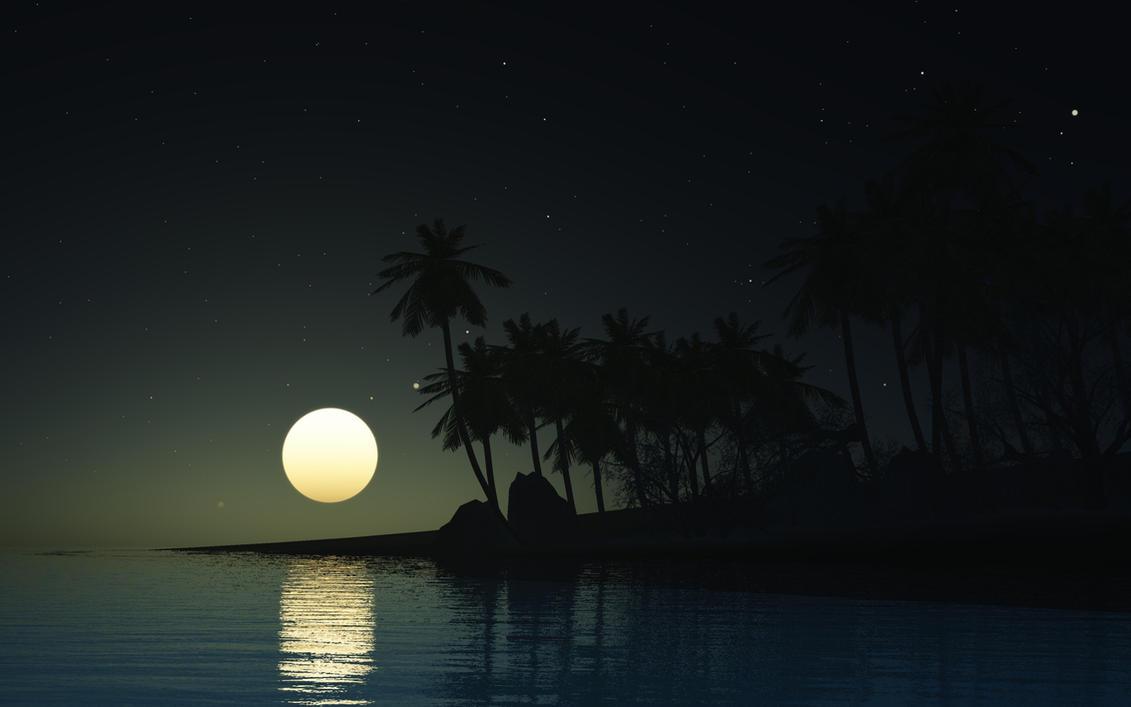 Beach Night by Hythamkalefe