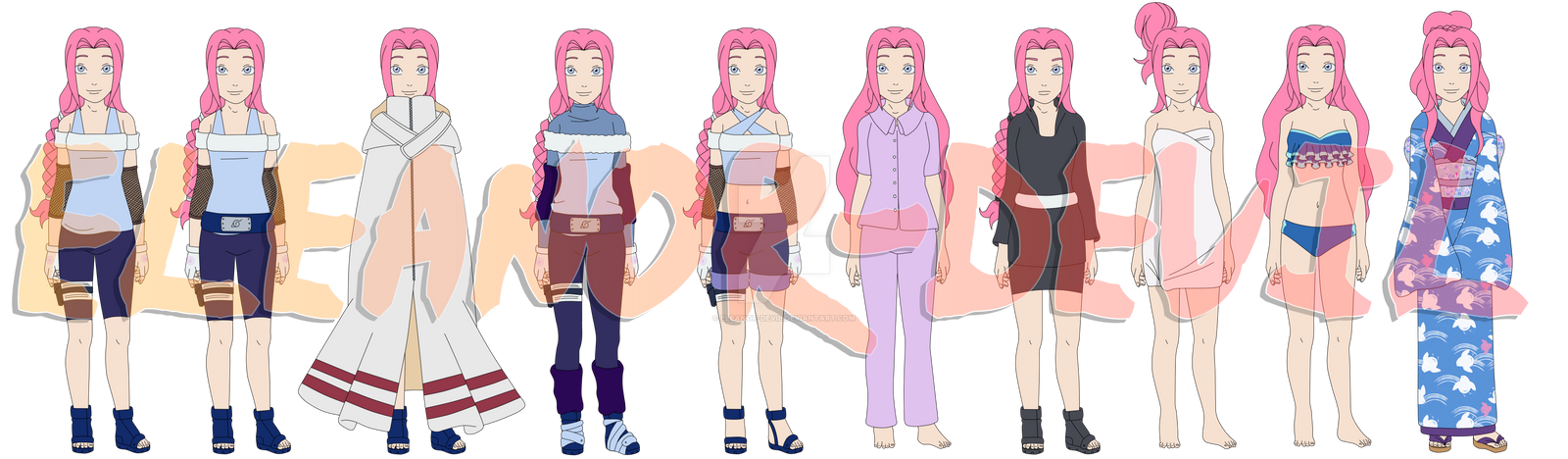 Naomi Saruwatari - Pre-Shippuden Outfits by Eleanor-Devil