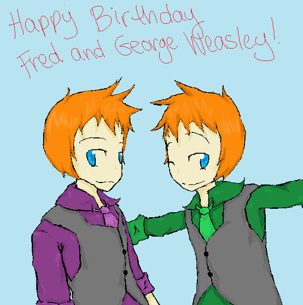 fred and george weasley coloring pages - happy birthday fred and george weasley by lifestar14 on