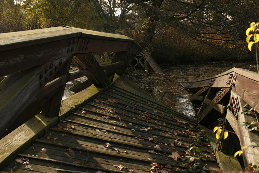 broken bridge close up autumn fall by Nexu4