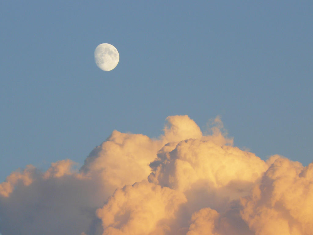 sunset cloud and moon 02 by Nexu4