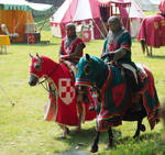 two knights red-white and red-green on horses by Nexu4