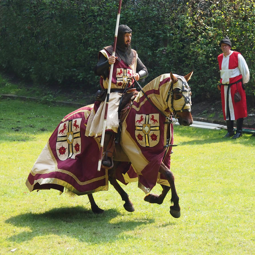 knight red and gold at a gallop