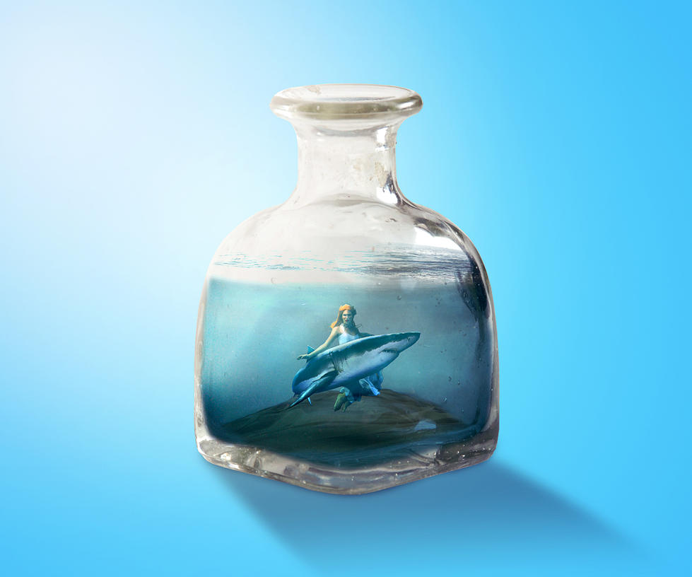 shark lover in the glass bottle by ryApache