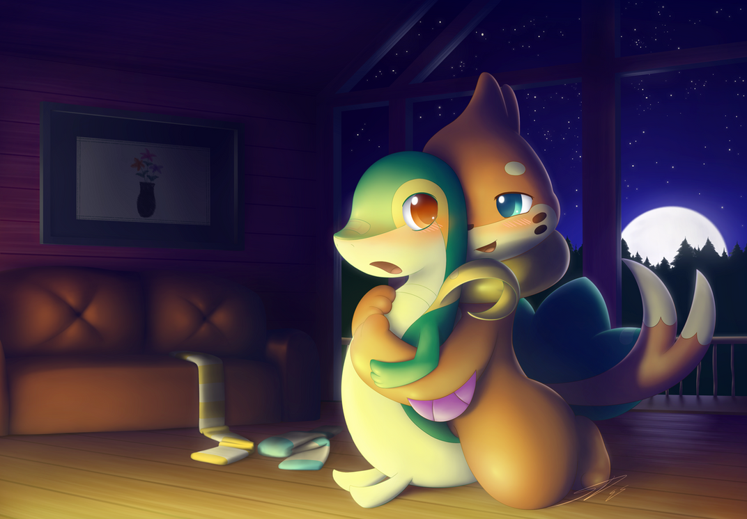 A Warm Surprise: Commission for Snivylover4125 by streetdragon95