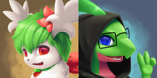 Coryn and Grovyle: Comm for CorynShayminFields by streetdragon95