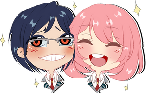 Chibi Headshot couple commission for Jusace 1/2 by AimiMay