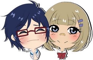 Chibi Headshot couple commission for Jusace 2/2 by AimiMay