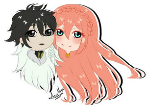 Chibi couple commission for Apricot-Autumn 1/2 by AimiMay