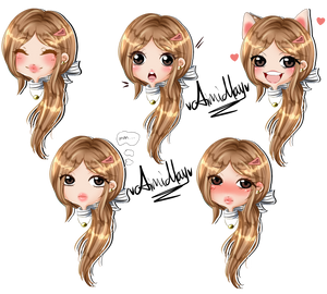 Multiple Expression Chibi for HoneyMacaroon by AimiMay