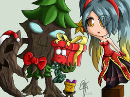 LoL Chibis: Decorating the Tree by oOCrazyKittyOo