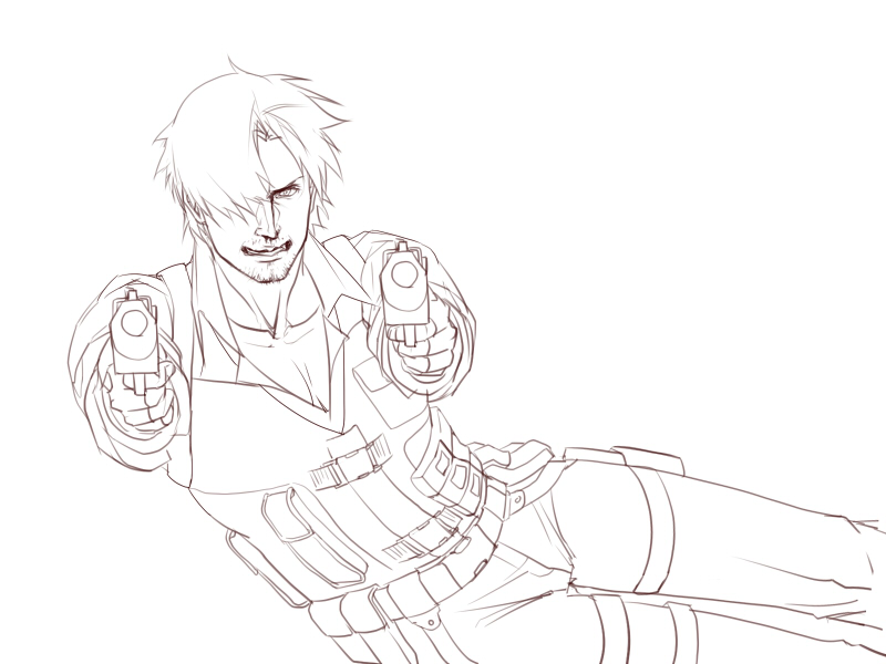 Leon with two guns (Lined ver.) by eilinna