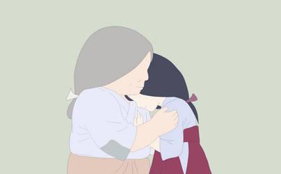 Princess Kaguya hugged with her mother