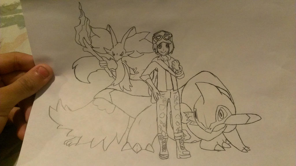 Pokemon Y team drawings Pokemon_y_team__paper_drawing__by_maxtyrannus-d7apke8