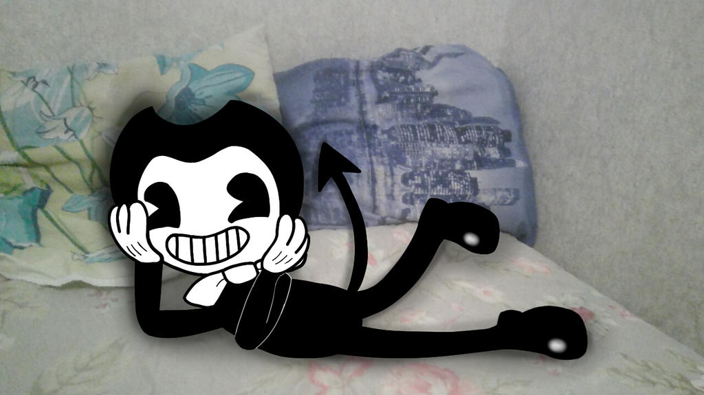 Bendy on my bed :3 by AssassinSamanthaPaff