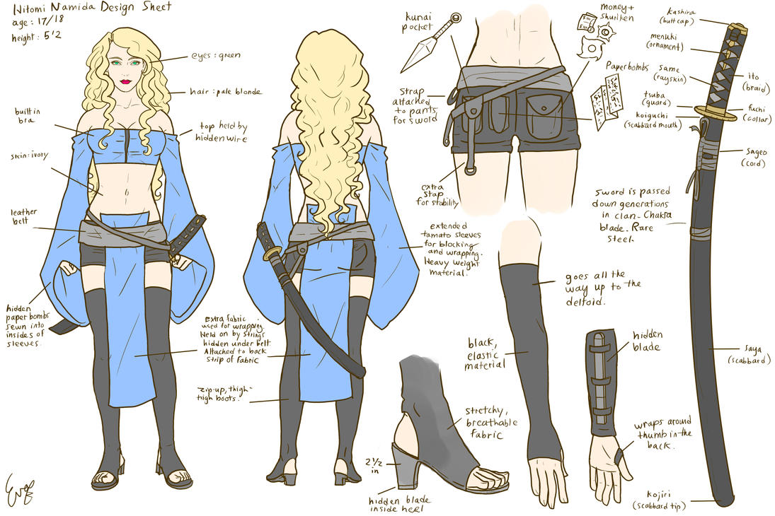 Character Design Style Sheet : Hitomi character design sheet by invisibleninja on