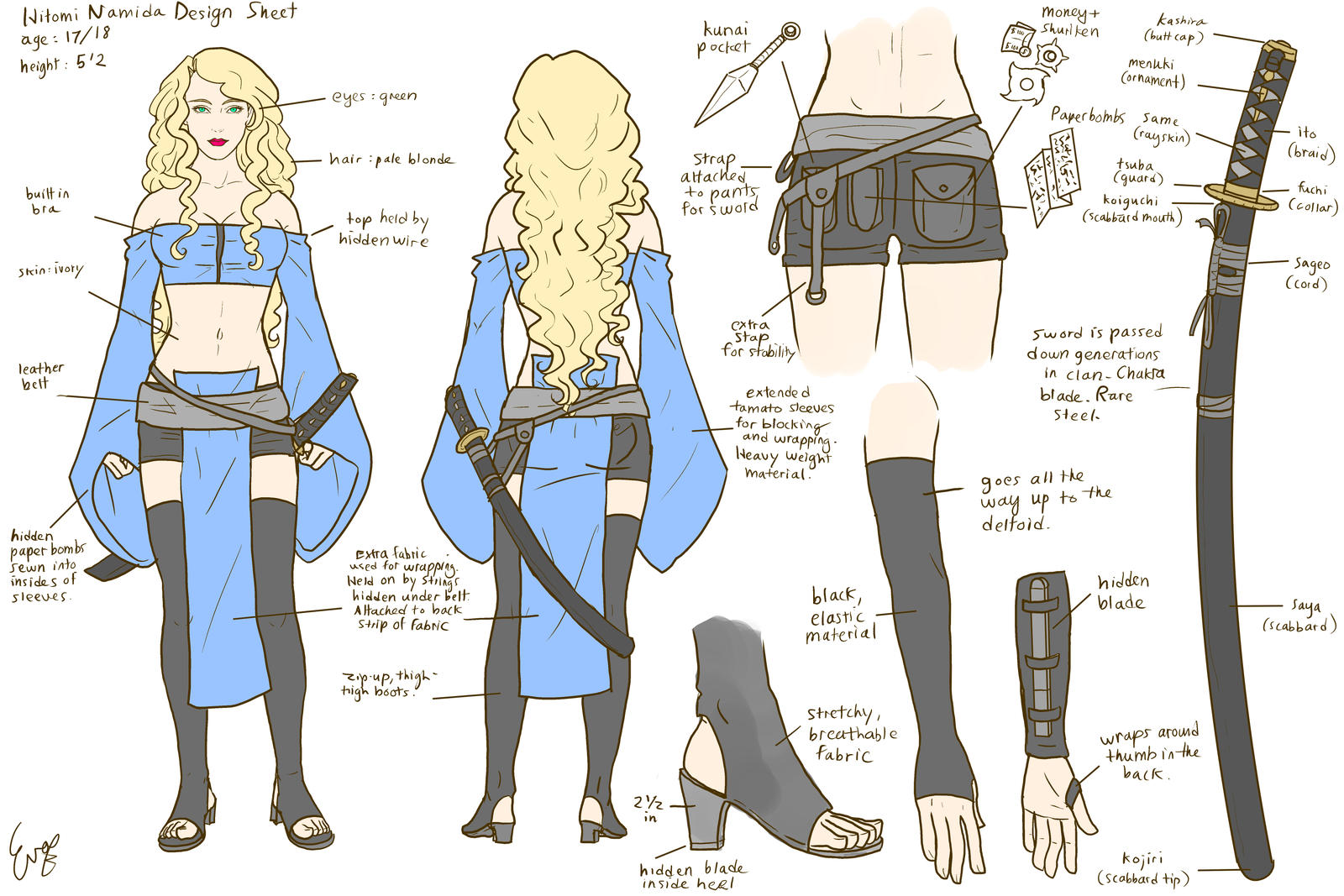 Custom Character Sheet Design : Hitomi character design sheet by invisibleninja on