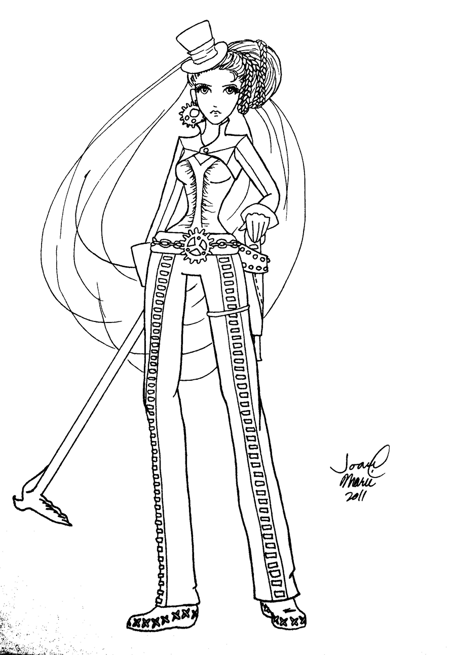 steampunk girl coloring pages - photo#5