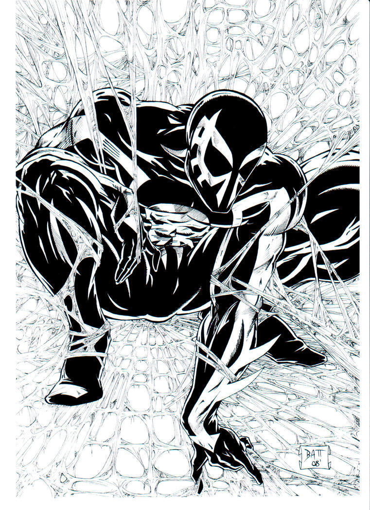Bw spider man 2099 inks by venom20xx on deviantart for Spider man 2099 coloring pages