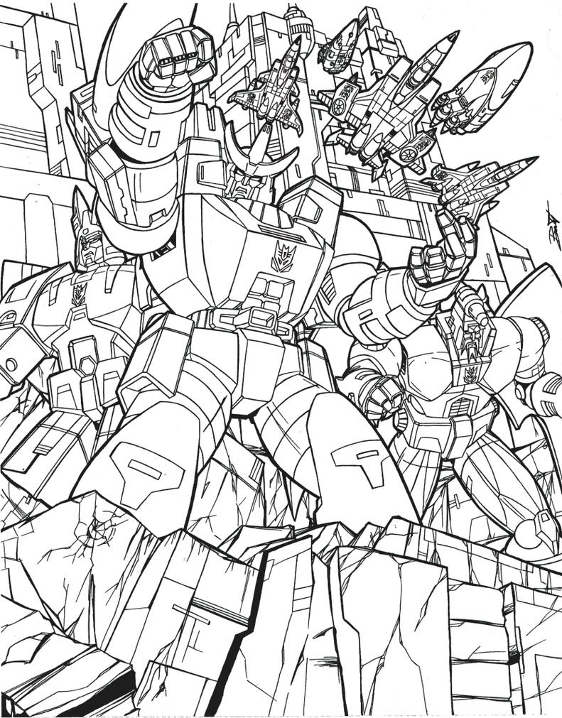 G1 decepticons poster bw inks by venom20xx on deviantart for Transformers g1 coloring pages