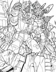 G1 Decepticons Poster BW inks