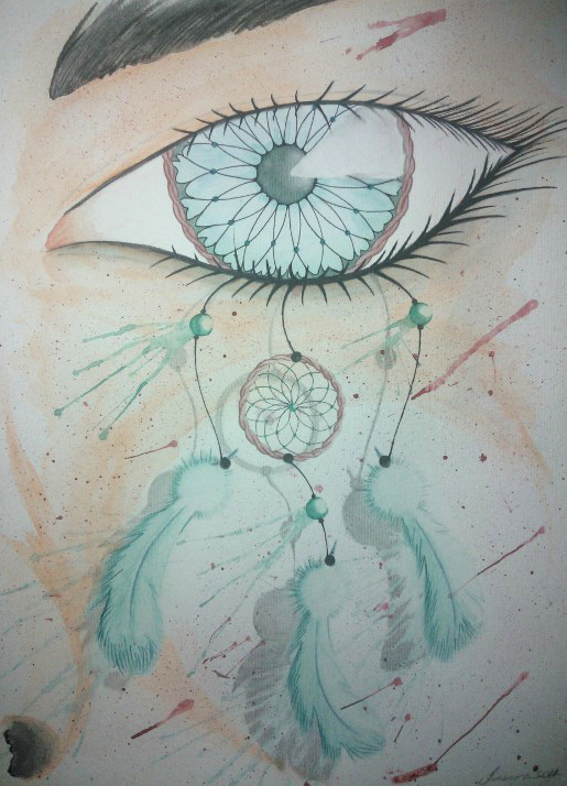 Dream Catcher Watercolor Painting By Thiagotakamura On