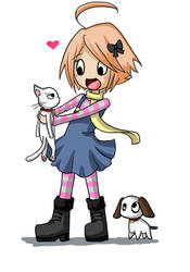 Olivia and Victor .. and dog by moppistrawberry