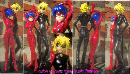 Miraculous Ladybug and Cat Noir custom figures by TeenTitans4Evr