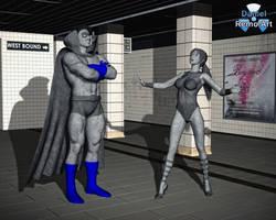 Grey Gargoyle vs Wonder Girl by Daniel-Remo-Art
