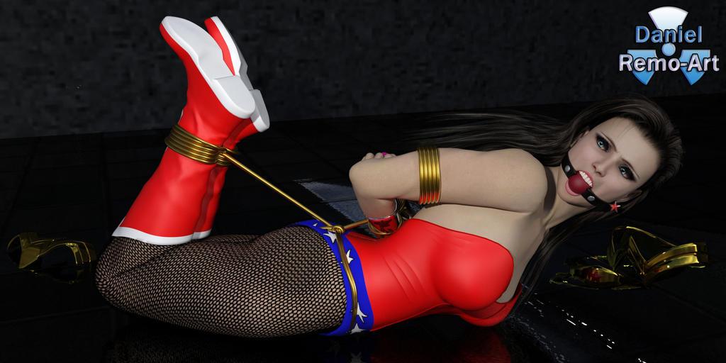 Wonder Woman Hogtied (Iray) by Daniel-Remo-Art