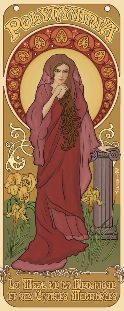 Polyhymnia- Art Nouveau poster by aelirenn-kw