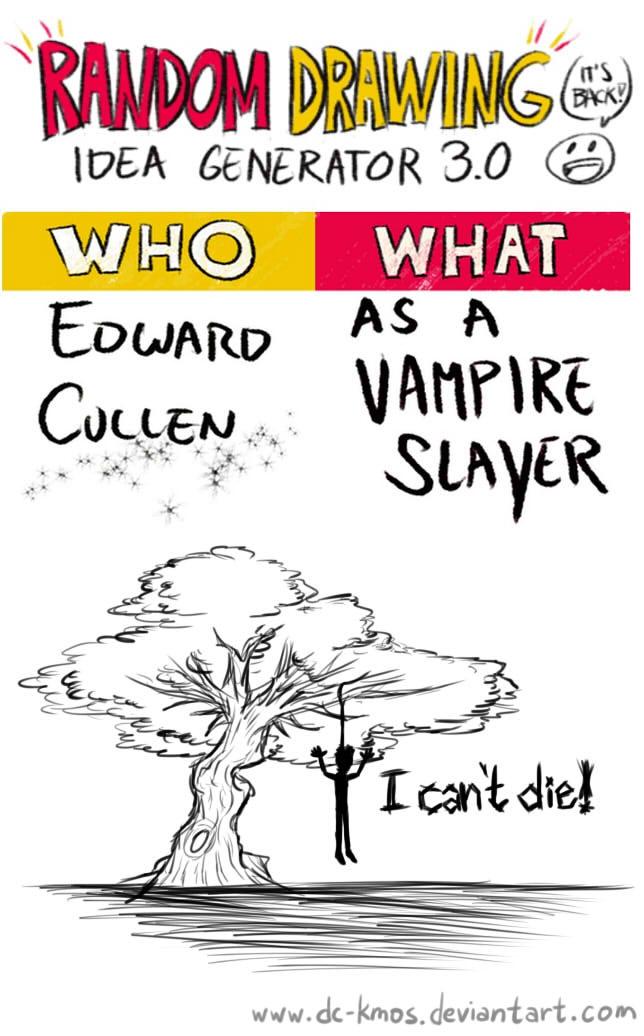 Randraw: Edward Cullen as a Vampire Slayer by DC-KMOS