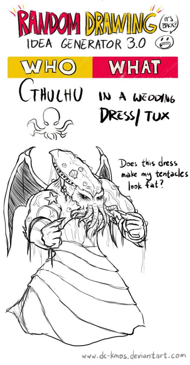 Randraw: Cthulhu in a Wedding Dress by DC-KMOS