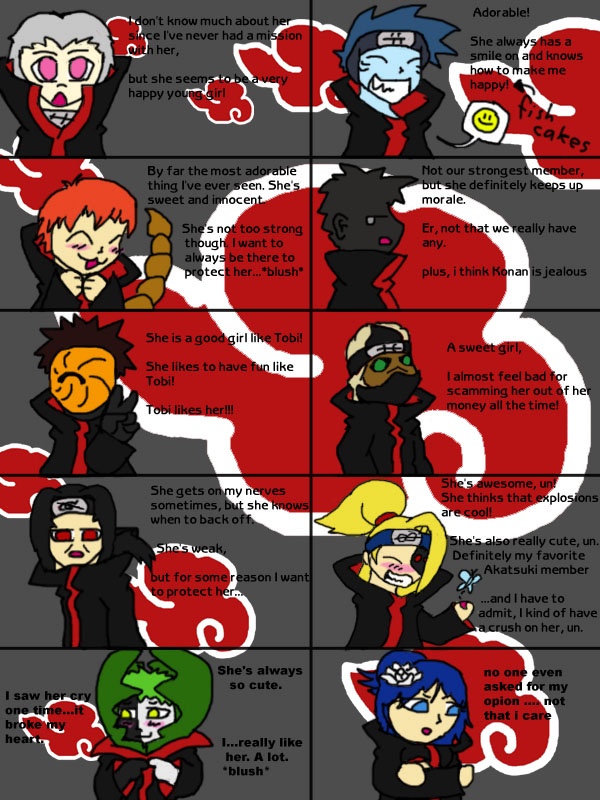akatsuki dating show quiz Follow/fav the akatsuki dating game by: pandasmoosh the new girl arrives, and the guys love her so she comes up with a plan to choose the right one.