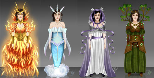 COM : Charadesign four elements for Ali by CapitaineBlue