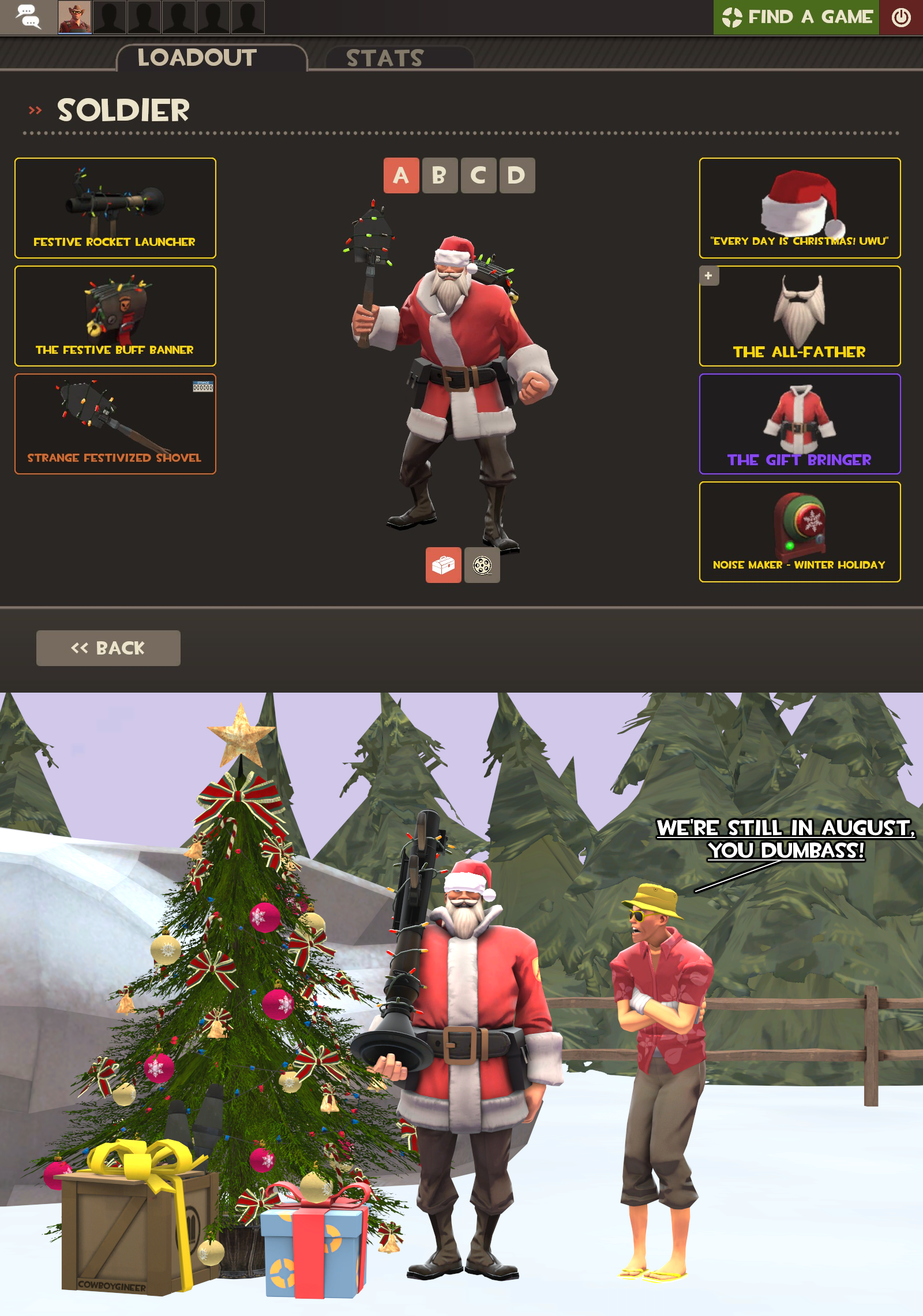 Christmas Noisemaker Tf2 2020 TF2 Loadout: Soldier Claus by Cowboygineer on DeviantArt