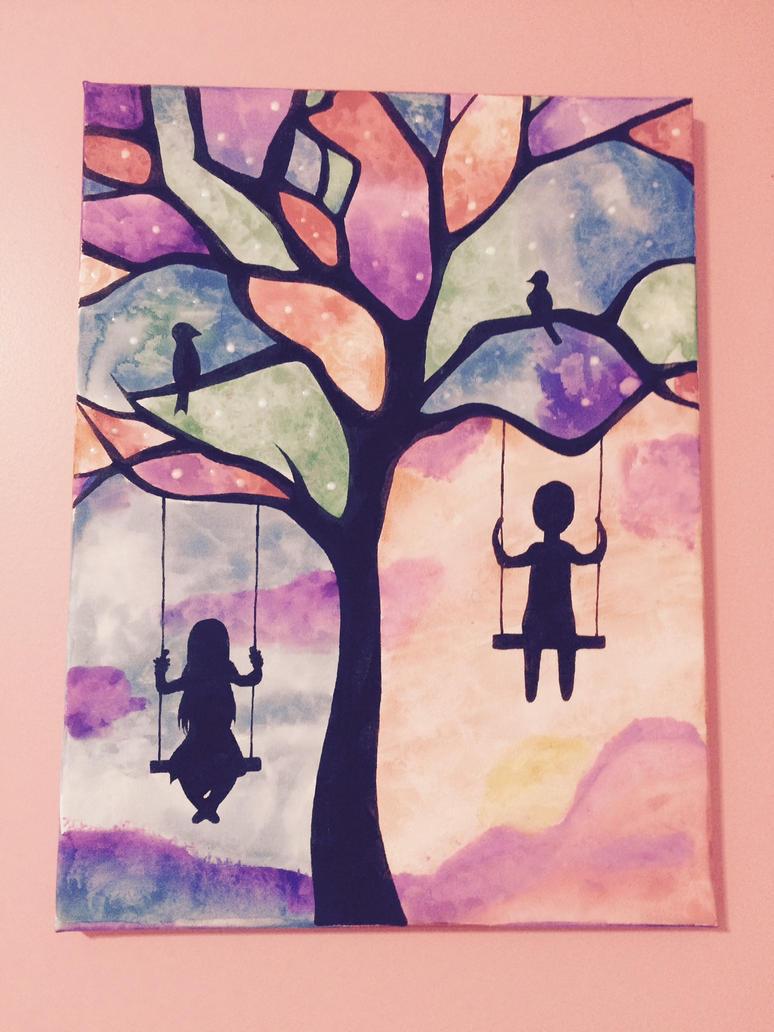 Watercolor tree silhouette by noorkawaii