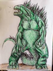Godzilla crayola work doodle by harosais1