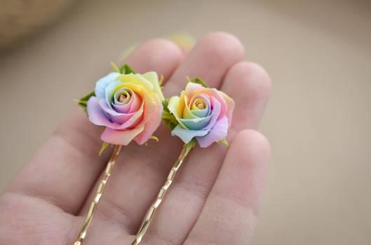 Pastel rainbow roses hairpin