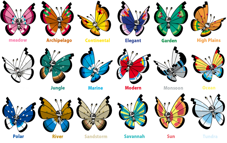 Pokemon Y Hairstyles And Colors: Lots Of Shiny Vivillons By TrainerParshen On DeviantArt