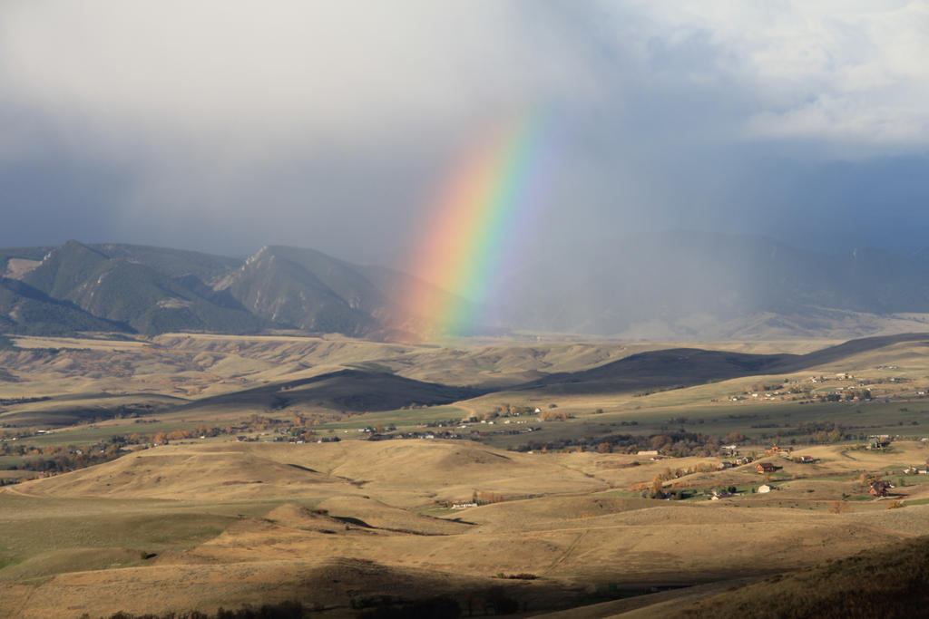 Rainbow along the Bozeman Trail, Wyoming by JAFNOVA