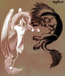 Pegasus and Althear - Gravure by Tsaag