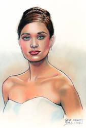 Green Eyed Beauty in White by GeneAlva