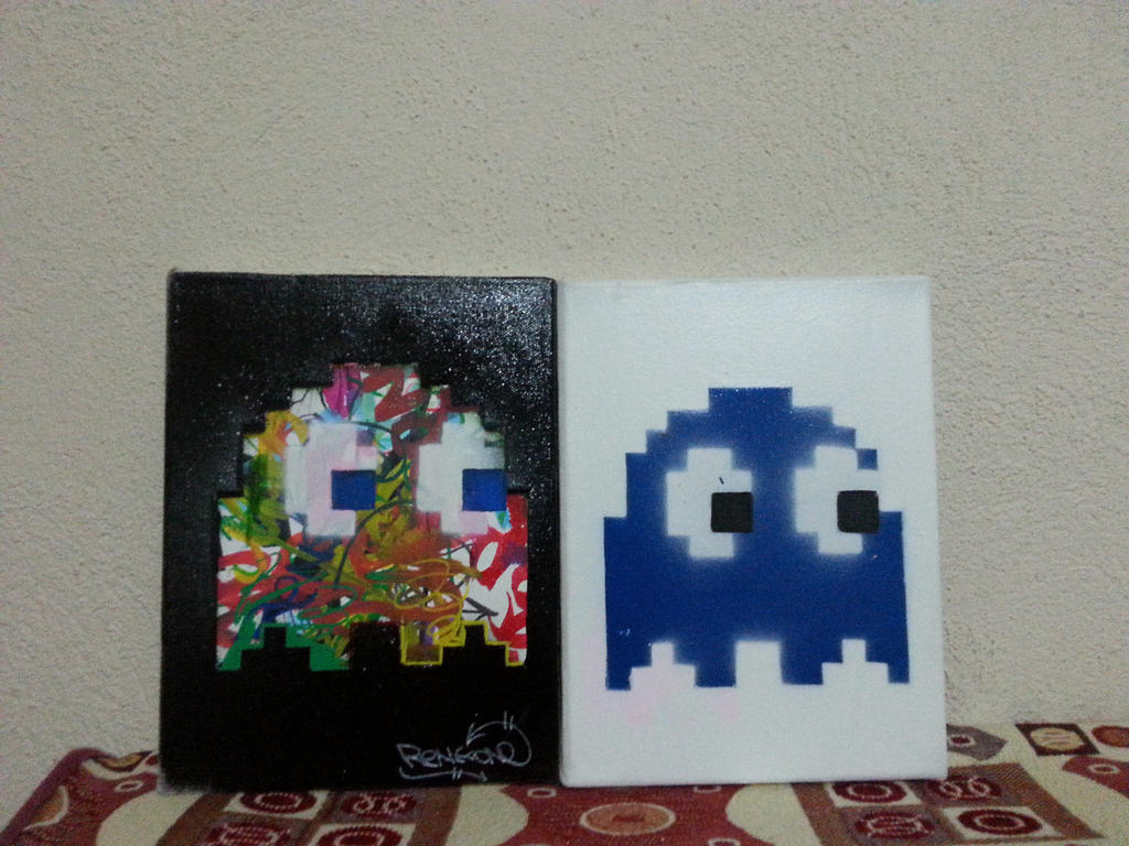 pacman ghost on canvas