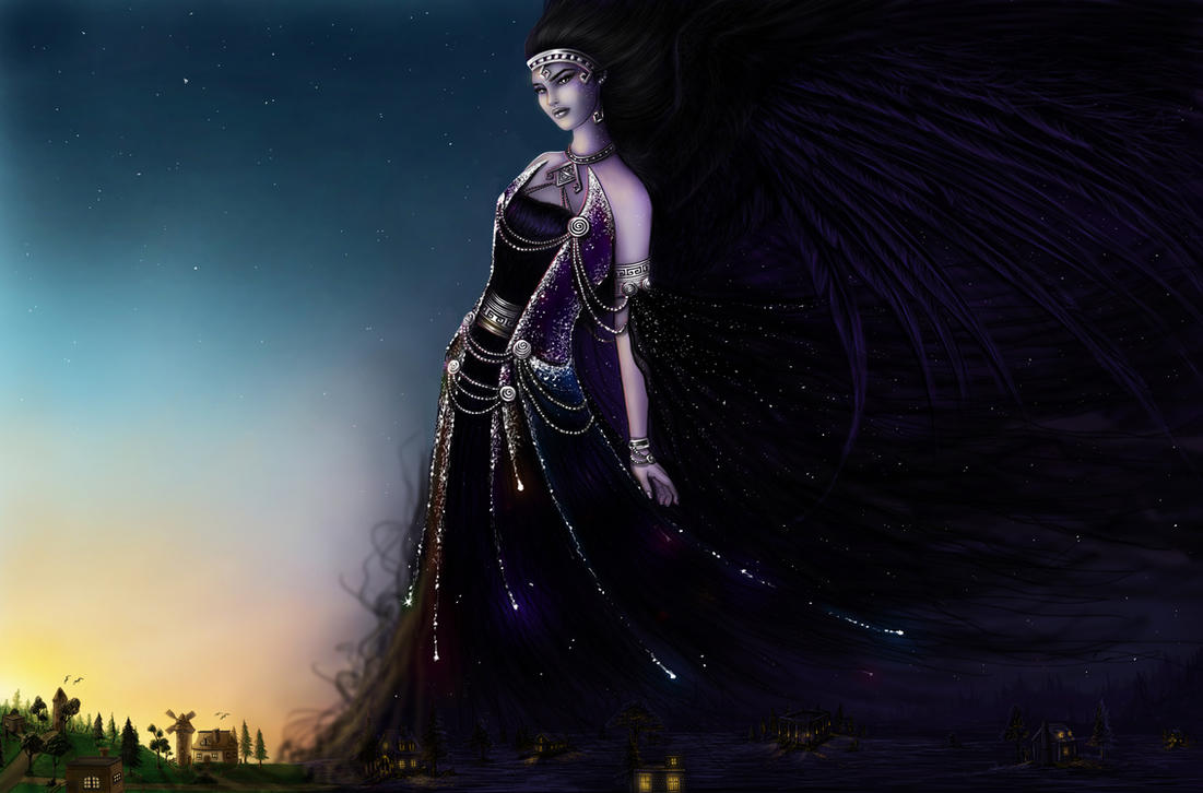 hellenic mythology nyx awakening by emanuellakozas on deviantart