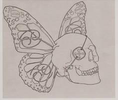 Butterfly Skull Tattoo by FlangSedai