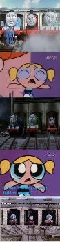 Bubbles doesn't like the Big Engine Trio fighting